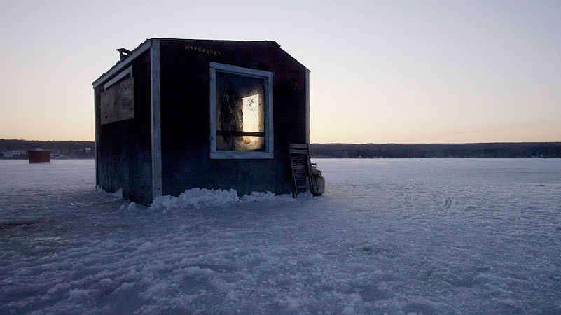 """Happy Town""   Ice Fishing Hut"